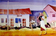 Tanzania Paintings - Hurrying in Tanzania by Carole Johnson