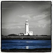 Lighthouse Photos - Hurst Lighthouse B&w Edit. #lighthouse by Phil De Montjoie Heard