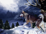 Snow Dog Mixed Media Posters - Husky - Mountain Spirit Poster by Carol Cavalaris