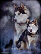 Husky Mixed Media Posters - Husky - Night Spirit Poster by Carol Cavalaris
