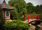 Forest Photographs Prints - Hut and Bridges in Japanese Garden Print by Tam Graff