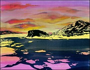 Water Tapestries - Textiles Prints - Hut Point Antarctica Print by Carolyn Doe