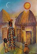 Africa Pastels Originals - Huts with Sun and Moon by Sally Appleby