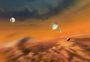 Planet Painting Posters - Huygens Probe Lands on Titan Poster by Don Dixon