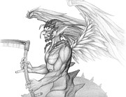 Wings Drawings - Hybrid Angel by Matthew Keith