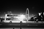 Crossing Over Framed Prints - Hybrid Electric London Red Double Decker Bus Public Transport Crossing Westminster Bridge England Framed Print by Joe Fox