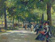 Park Bench Framed Prints - Hyde Park - London  Framed Print by Count Girolamo Pieri Nerli