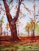 Park Landscape Mixed Media Originals - Hyde Park Autumn  by Nancy Brennand
