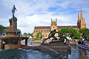 Sydney City Prints - Hyde Park Fountain and St. Marys Cathedral Print by Kaye Menner