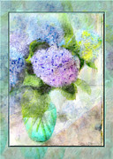 Photomanipulation Photo Prints - Hydrangea art greeting card Print by Debbie Portwood