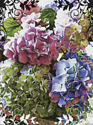Photomanipulation Photo Prints - Hydrangea Colors photoart Print by Debbie Portwood