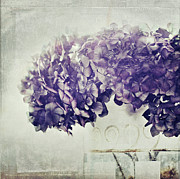Textured Effect Prints - Hydrangea In Vase Print by Silvia Otten-Nattkamp Photography