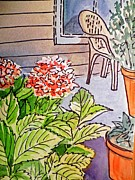 Garden Chair Framed Prints - Hydrangea Sketchbook Project Down My Street Framed Print by Irina Sztukowski