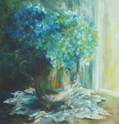 Silver Tea Pot Paintings - Hydrangea SOLD by Gloria Turner