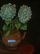 Teapot Painting Originals - Hydrangea teapot by Rena Buford