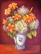 Edna Garrett - Hydrangeas in Blue and...