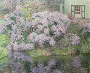 Purple Hydrangeas Prints - Hydrangeas on the banks of the River Lys Print by Emile Claus