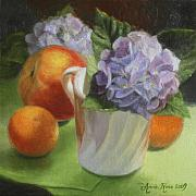 Fruit Still Life Framed Prints - Hydrangeas Peach and Clementines Framed Print by Anna Bain