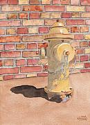 Brick Paintings - Hydrant by Ken Powers