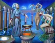 Greek Paintings - Hydromedas Kitchen by Patrick Anthony Pierson