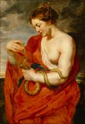Mythology Painting Posters - Hygeia - Goddess of Health Poster by Peter Paul Rubens