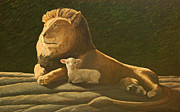 Lion Lamb Prints - Hymn for Sister Jeannette Print by Laurie Stewart