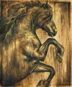 Canvas Reliefs Posters - Hymne Poster by Paula Collewijn -  The Art of Horses