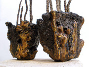 Indoor Ceramics - Hypertufa primitive pottery sculptures - SOLD by Randy Stewart