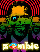 Liberal Digital Art Prints - Hypno Obama Zombie Horde Print by Robert Phelps