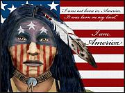 Lakota Paintings - I am America by Pablo DeLuna