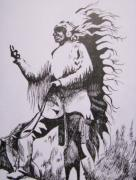 Native Chief Drawings - I Am Chief by Leslie Manley