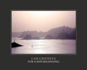 Self Help Posters - I Am Grateful For A New Beginning Poster by Donna Corless