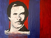 Men Art Painting Originals - I Am Ron Burgundy by April Brosemann