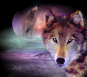 The Art Of Carol Cavalaris Prints - I Am Wolf Print by Carol Cavalaris