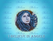 Positive Affirmation Mixed Media Prints - I Believe In Angels Print by The Art With A Heart By Charlotte Phillips