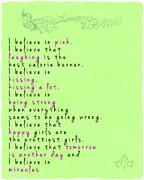 I Believe In Pink - Audrey Hepburn Print by Georgia Fowler