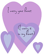 Positive Attitude Digital Art Metal Prints - I Carry Your Heart I Carry It In My Heart - Lilac Purples Metal Print by Nomad Art And  Design