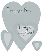 Positive Attitude Metal Prints - I Carry Your Heart I Carry It In My Heart - Pale Blues Metal Print by Nomad Art And  Design