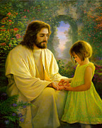 Little Girl Painting Posters - I Feel My Saviors Love Poster by Greg Olsen