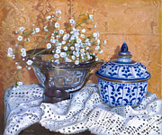Porcelain Paintings - i fiori di Linda by Danka Weitzen