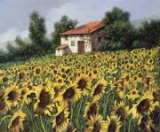 Farm Painting Framed Prints - I Girasoli Nel Campo Framed Print by Guido Borelli