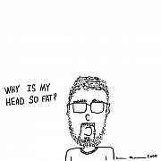 Cartoon Drawings - I Have A Fat Head Comic by Karl Addison