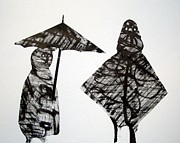 Umbrella Drawings Framed Prints - I Have A Raincoat Framed Print by Aquira Kusume