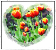 Feelings Digital Art Posters - I Heart Tulips Poster by Bill Cannon