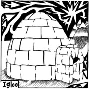 Maze Learning Posters - I is for Igloo Maze Poster by Yonatan Frimer Maze Artist
