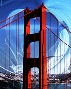 Historic Bridges Art Prints - I Left My Heart In San Francisco . Golden Gate Bridge Print by Wingsdomain Art and Photography