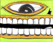 Outsider Mixed Media Prints - I Like 2 Smile LS Print by Robert Wolverton Jr