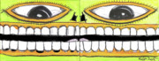Outsider Mixed Media Prints - I Like 2 Smile Print by Robert Wolverton Jr