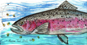 Rainbow Trout Mixed Media Prints - I Like Corn Print by Robert Wolverton Jr