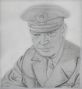 World War 2 Drawings Prints - I Like Ike Print by Daniel Young